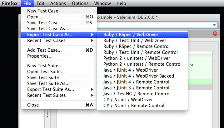 How To Export Tests from Selenium IDE